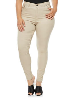 Plus Size Solid Stretch Pants - 3861038340292