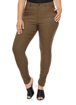Plus Size Solid Stretch Pants - OLIVE - 3861038340292