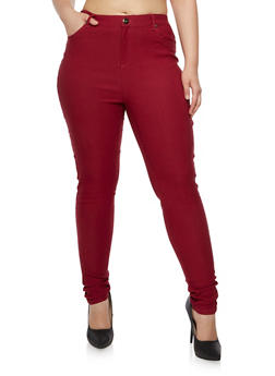 Plus Size Stretch Skinny Pants with Five Pockets - 3861038347292