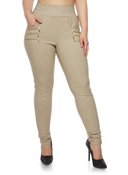 Plus Size Skinny Stretch Dress Pants with Zipper Accent Pockets - 3861038347293