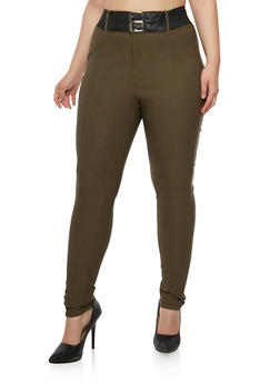 Plus Size Skinny Stretch Pants with Double Buckle Belt - 3861038347295