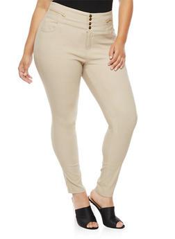 Plus Size 4 Button Wide Waist Pants - 3861038347297