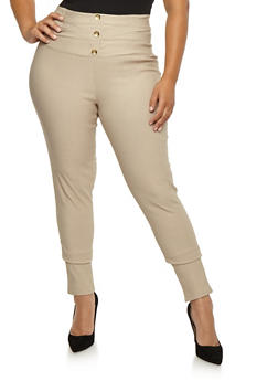Plus Size Pleated Wide Waist Pants - 3861038347298