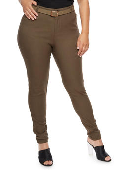 Plus Size Belted Skinny Pants - 3861038347299