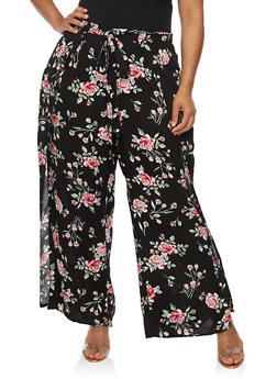 Plus Size Floral Palazzo Pants with Open Sides - BLACK - 3861051063559