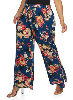 Plus Size Floral Palazzo Pants with Open Sides - NAVY - 3861051063559