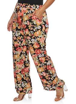 Plus Size Floral Palazzo Pants - 3861051063575