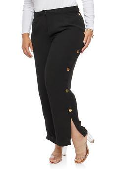 Plus Size Side Snap Crepe Knit Dress Pants - 3861051063580
