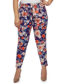 Plus Size Floral Tie Front Dress Pants - 3861056570212