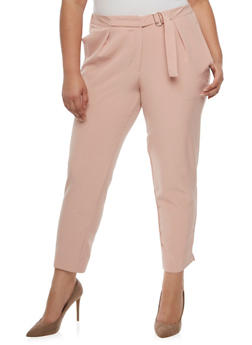 Plus Size Pleated Dress Pants with Belted Waist - BLUSH - 3861056572132