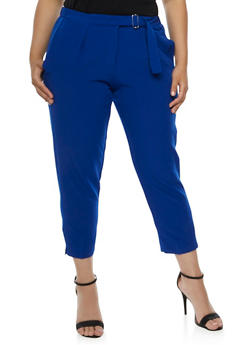 Plus Size Pleated Dress Pants with Belted Waist - 3861056572132