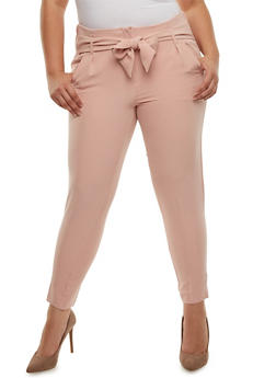 Plus Size Tie Front Dress Pants - BLUSH - 3861056572212