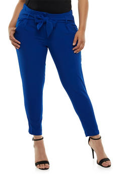 Plus Size Tie Front Dress Pants - 3861056572212