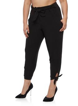 Plus Size Dress Pants with Tie Waist - 3861056572235