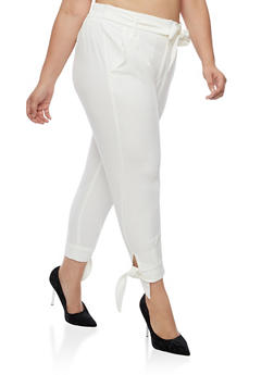 Plus Size Dress Pants with Tie Waist - WHITE - 3861056572235