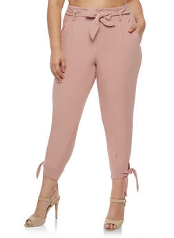 Plus Size Dress Pants with Tie Waist - 3861056572235