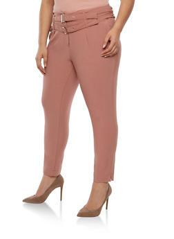 Plus Size Crepe Knit Dress Pants - MAUVE - 3861056572801