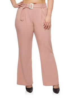 Plus Size Dress Pants with Tie Buckle - ROSE - 3861056572802
