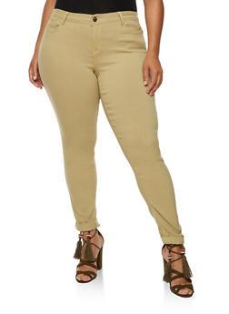 Plus Size Push Up Stretch Jeans - KHAKI - 3861060584906