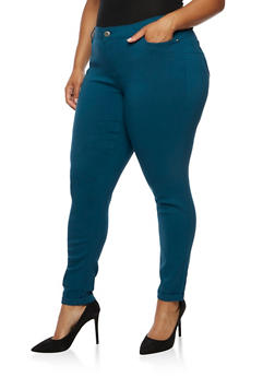Plus Size Push Up Stretch Jeans - PEACOCK - 3861060584906