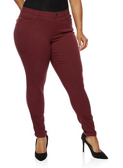 Plus Size Push Up Stretch Jeans - BURGUNDY - 3861060584906