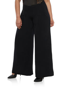 Plus Size Solid Pleated Palazzo Pants - 3861074007519
