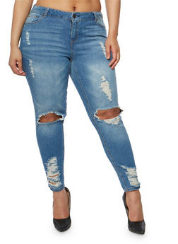 Plus Size Almost Famous Distressed Open Knee Skinny Jeans - 3870015990015