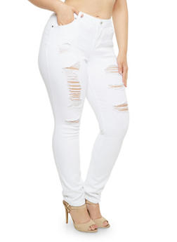 Plus Size Almost Famous Distressed Skinny Jeans - 3870015990326