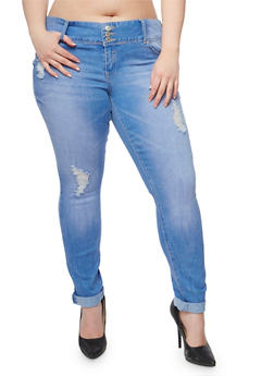 Plus Size Almost Famous Distressed Push Up Skinny Jeans - 3870015990491