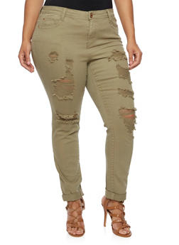 Plus Size Almost Famous Distressed Skinny Jeans - 3870015990708