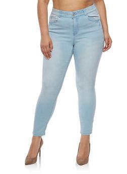 Plus Size Almost Famous Elastic Waist Jeans - LIGHT WASH - 3870015991111