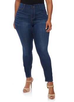 Plus Size Almost Famous Elastic Waist Jeans - DARK WASH - 3870015991111