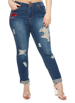 Plus Size Almost Famous Rose Patch Destroyed Jeans  - 3870015991561