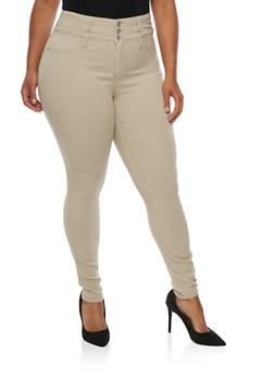 Plus Size Almost Famous 3 Button Hyperstretch Pants - 3870015991580