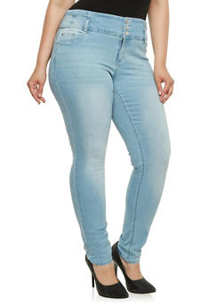 Plus Size Almost Famous High Waisted Skinny Jeans - 3870015991590