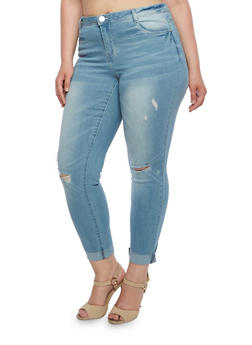 Plus Size Almost Famous Distressed Skinny Jeans with Rolled Cuffs - 3870015991597
