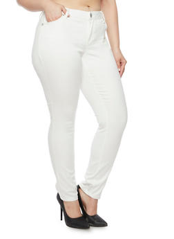 Plus Size Almost Famous Stretch Jeans - WINTER WHITE - 3870015991612