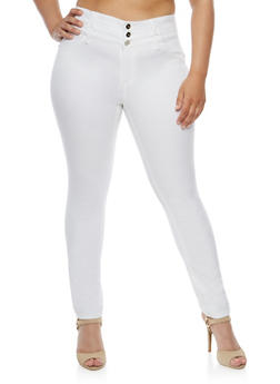 Plus Size Almost Famous White Skinny Jeans - 3870015991626