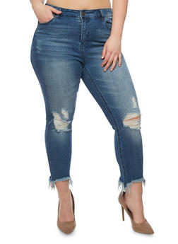 Plus Size Almost Famous Distressed Skinny Jeans - 3870015992020