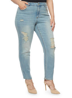 Plus Size Almost Famous Distressed Skinny Jeans - 3870015992122