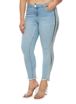 Plus Size Almost Famous Skinny Jeans with Metallic Stripe - 3870015992323