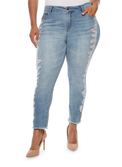 Plus Size Almost Famous Distressed Side Jeans - 3870015992459
