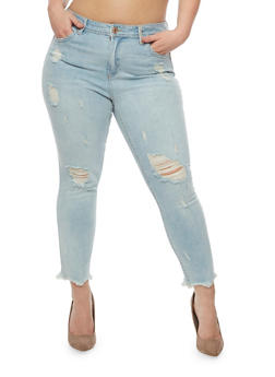 Plus Size Almost Famous Distressed Skinny Jeans - 3870015992626