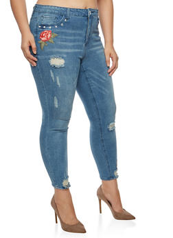 Plus Size Almost Famous Studded Rose Patch Jeans - 3870015992713