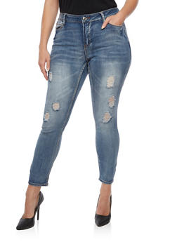 Plus Size Almost Famous Distressed Skinny Jeans - 3870015993333
