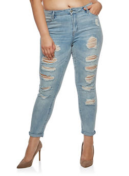 Plus Size Almost Famous Destroyed Roll Cuff Jeans - 3870015993838