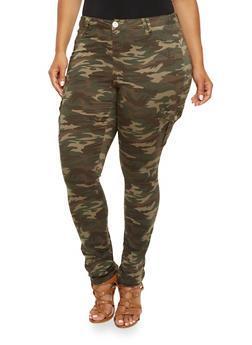 Plus Size Almost Famous Camo Cargo Pants - 3870015993858