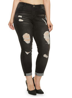 Plus Size Almost Famous Distressed Skinny Jeans - 3870015994562