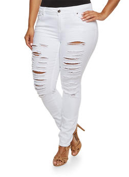 Plus Size Almost Famous Distressed Skinny Jeans in White - 3870015996103