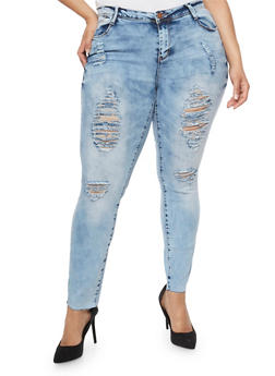 Plus Size Almost Famous Acid Wash Distressed Skinny Jeans - 3870015996362